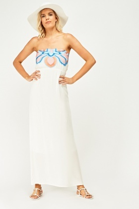 Embroidered Bandeau Maxi Dress