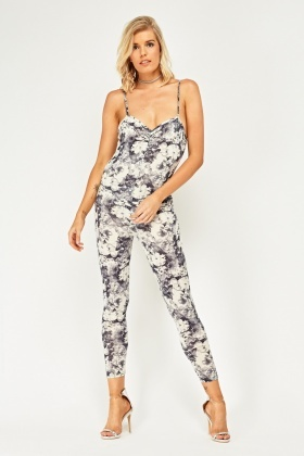 Flower Printed Fitted Jumpsuit