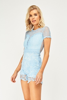 Lace Overlay Sweetheart Playsuit