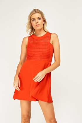 Mini Mesh Insert Skater Dress