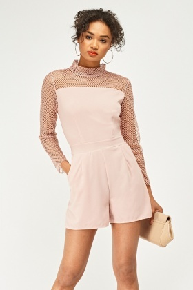 Perforated Mesh Insert Playsuit