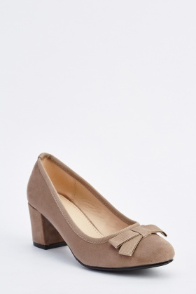 Bow Front Suedette Block Heel Shoes