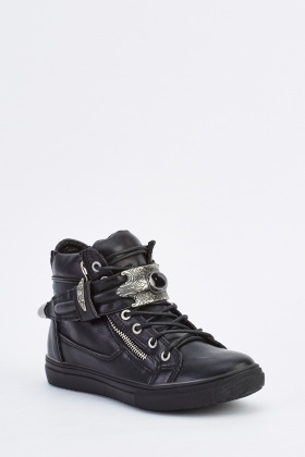 Detailed Front High Top Trainers