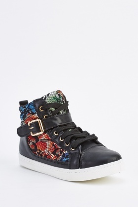 Floral Insert Buckled High Top Trainers