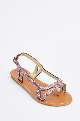 Glittered Strappy Sandals