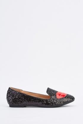 89c9e9ee728c Lip Glittered Ballet Pumps - Just £5