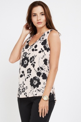 Floral Print Sheer Shell Top