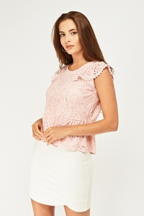 Frilly Lace Overlay Peplum Top
