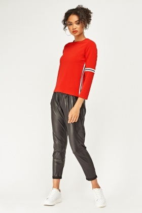 Shiny Textured Tapered Trousers
