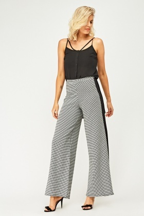 Textured Contrast Wide Leg Trousers