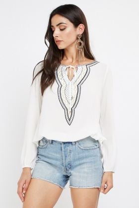 Embroidered Applique Front Top