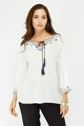 Embroidered Tie Up Tassel Boho Top