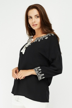 Embroidered Tie Up Tunic Top