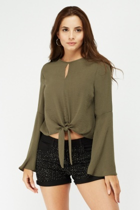 Frilly Flute Sleeve Sheer Blouse