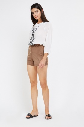 High Waisted Suedette Shorts