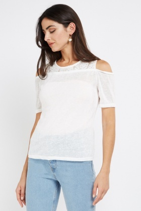 Metallic Lace Insert Cold Shoulder Top