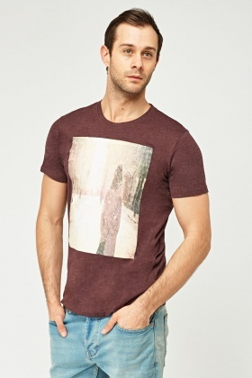 Plum Crew Neck Graphic T-Shirt