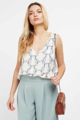 Printed V-Neck Shell Top