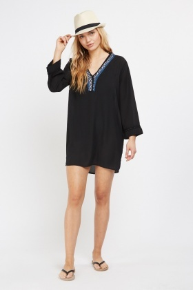 Stitched Detail Sheer Tunic Dress