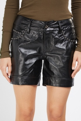 Studded Faux Leather Hi-Shine Shorts