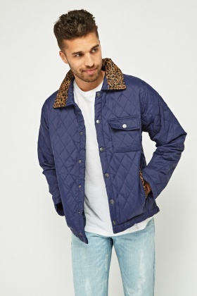 Leopard Print Insert Quilted Jacket