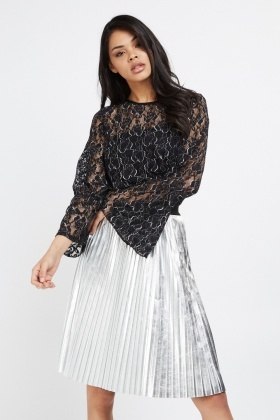 Metallic Frilly Lace Sleeve Top