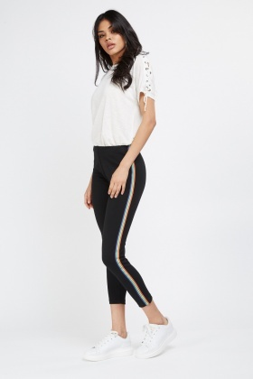 Rainbow Stripe Contrast Crop Leggings