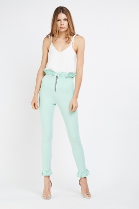Ruffle Trim Detail Formal Trousers