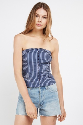 Strapless Button Front Striped Top