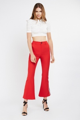 Stripe Side Contrast Flared Trousers