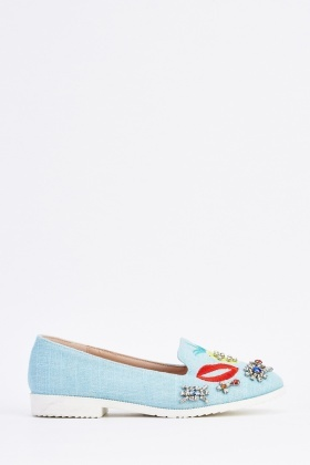 Embroidered Embellished Contrast Loafers