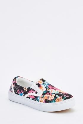 Floral Print Slip On Plimsolls - Just $6
