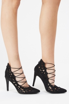 Laser Cut Lace Up Court Heels