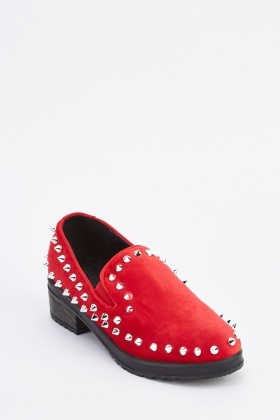 Studded Low Heel Suede Loafers
