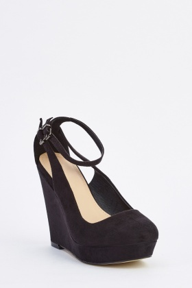 Suedette Ankle Strap Wedge Heels