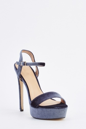 Velveteen Platform Heeled Sandals