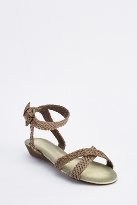 Weave Stitched Cross Strap Sandals