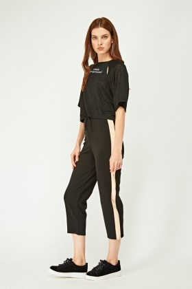 Contrasted Side Cropped Joggers