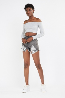 Sequin Frayed Mesh Trim Denim Shorts