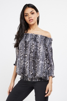 Snake Skin Print Off Shoulder Top