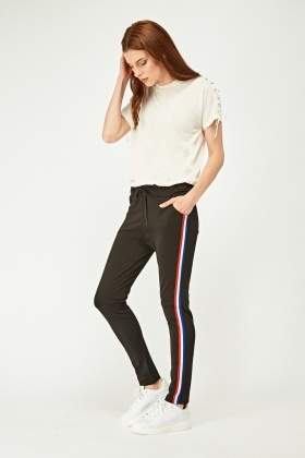 Striped Side Contrast Trousers