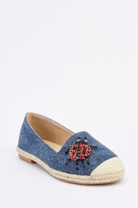 Beaded Denim Espadrille Shoes