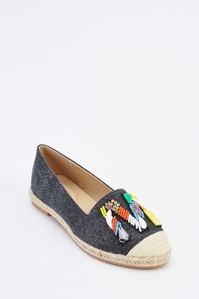 Embellished Applique Front Espadrilles