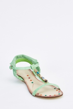 Embellished Laser Cut Detail Flat Sandals