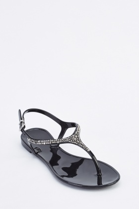 Encrusted T-Strap Flat Jelly Sandals