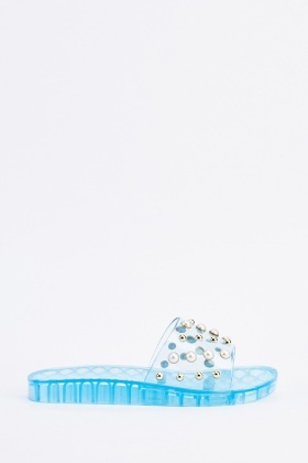 Faux Pearl Embellished Jelly Sliders