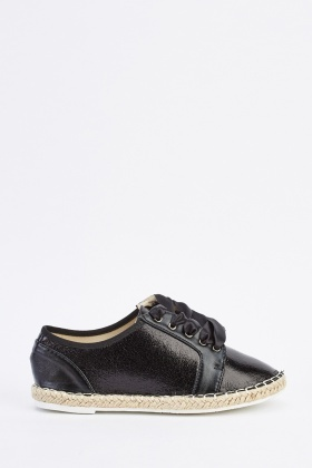 Metallic Ribbon Lace Up Plimsolls