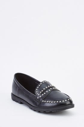 Studded Trim Front Loafers