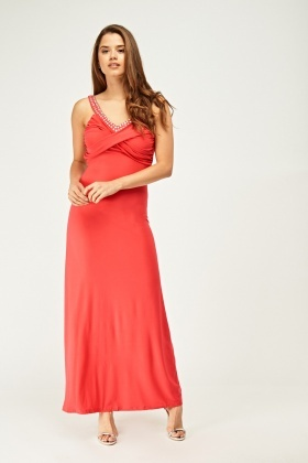 Diamante Ruched Open Back Maxi Dress