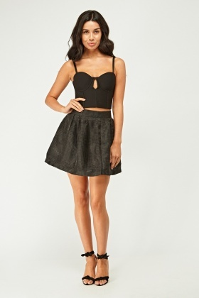 Mesh Overlay Mini Circle Skirt